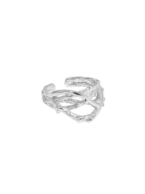 Silver [single] 925 Sterling Silver Irregular Vintage Stud Earring